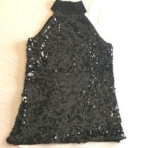 High Neck Sequin Top. INC Large